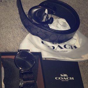 Men's coach watch, Men's coach belt